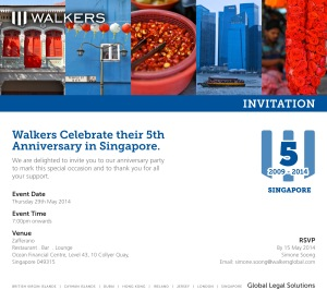 Walkers Singapore - 5th Anniversary Invitation